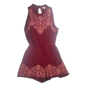 Miami Burgundy and Pink Romper- Small